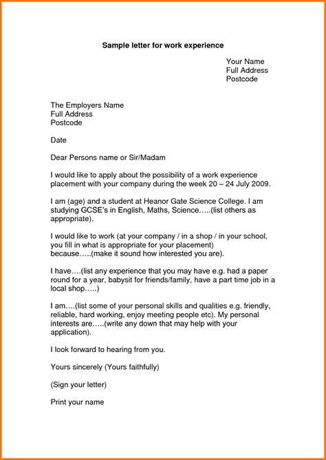 experience le tter format  work appeal letters sample