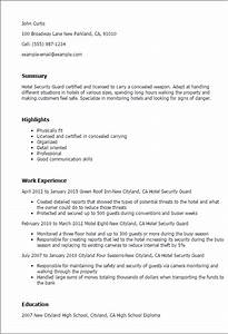 cv template for security guard - hotel security guard resume template best design tips