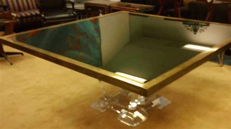 crackle glass table karl springer custom made brass bound crackle 2978