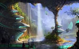 water, man, cave, column, falls, city