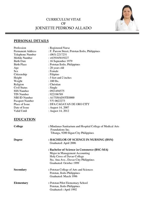 curriculum vitae sle for thesis philippines cover