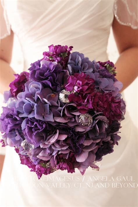 purple hydrangea bouquet  crystals real wedding