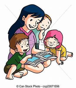 Clipart Vector of Mother Telling story csp23071556 ...