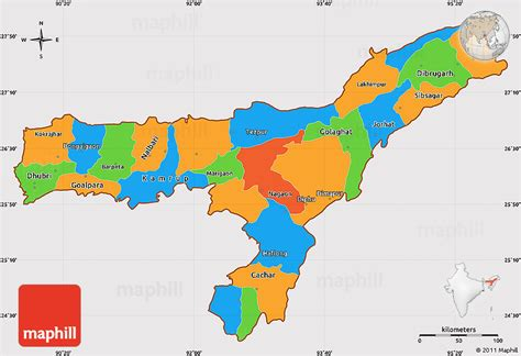 political simple map  assam cropped
