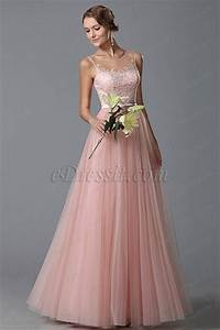 edressit flattering pink sleeveless evening gown prom With robe longue peche