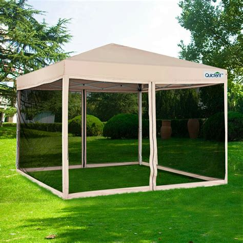 quictent  ez pop  canopy tent  netting screen house mesh sidewall tan