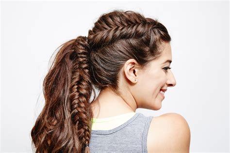 braids and hair styles fishtail braid ponytail popsugar 7300