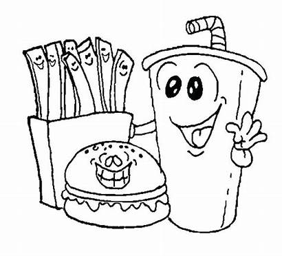 Coloring Pages Junk Colouring Foods Healthy Printable