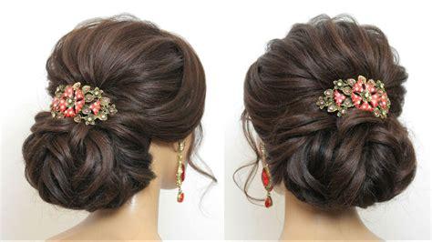 bridal hairstyle  long hair wedding  bun updo