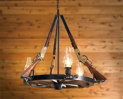 rifle and wagon wheel lodge chandelier