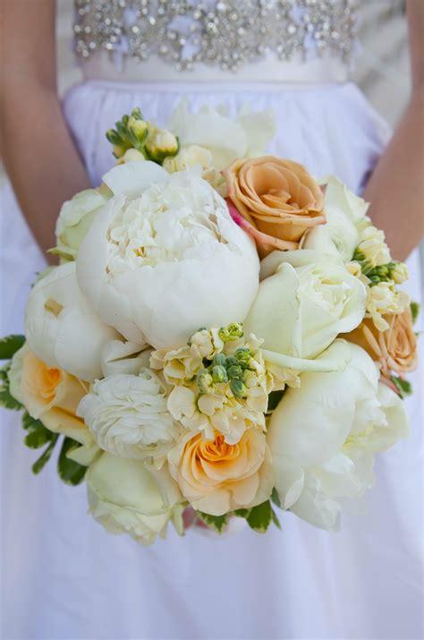 orange  white peony bouquet
