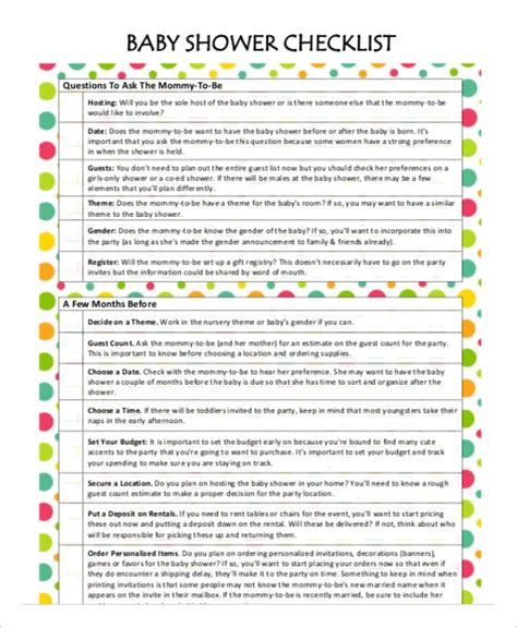 Printable Baby Shower Planner Template 8 Free Pdf Printable Baby Shower Planner Template 8 Free Pdf