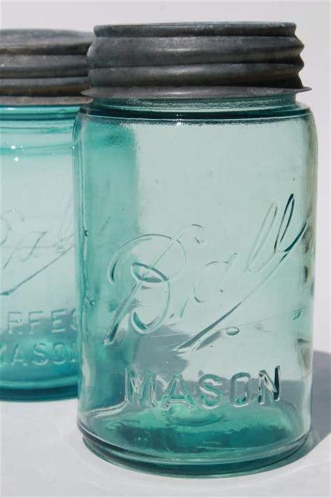 vintage Ball Perfect Mason aqua blue glass pint jars w