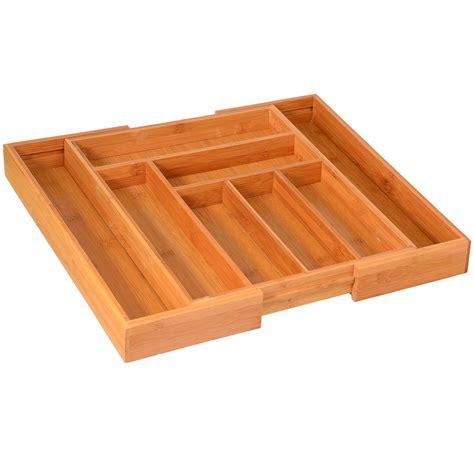 kitchen tray organizer silverware utensils drawer organizer bamboo expandable 3389