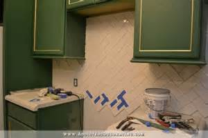 herringbone kitchen backsplash how to install a herringbone subway tile backsplash