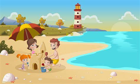 Ilustración de Dibujos Animados Familia Construyendo