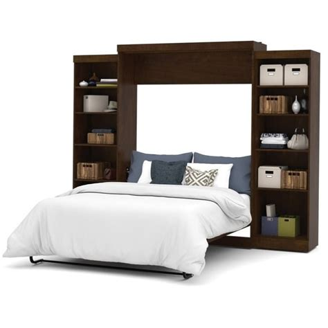 bestar pur queen wall bed with storage in chocolate 26883 69
