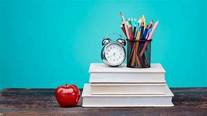 Books Pencils Apple Background Clock Table Colorful