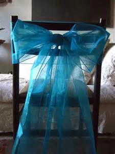 organza chair bows in turquoise pack of 10
