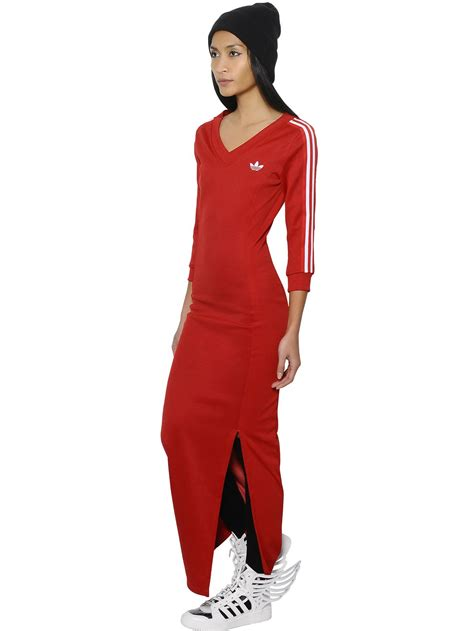 Jeremy scott for adidas Striped Jersey Dress in Red | Lyst