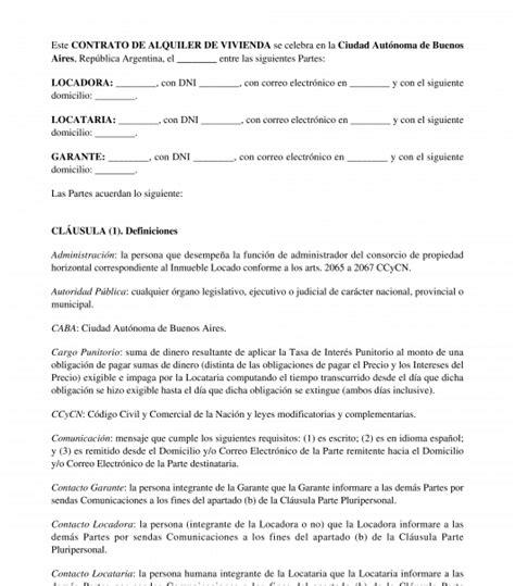 contrato de alquiler de vivienda modelo word y pdf