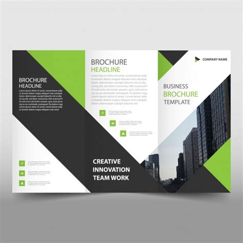 Leaflet Template by Green And Black Trifold Leaflet Template Vector Free