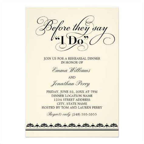 rehearsal dinner invitation template 41 wedding invitations format free premium templates