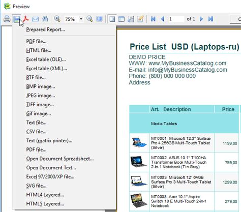 price list template app  create  price