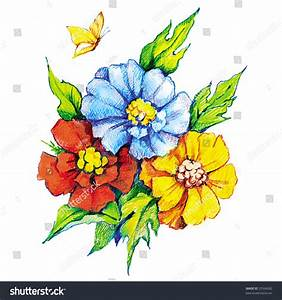 Beautiful Flowers Butterfly Colored Pencil Drawing Stock ...