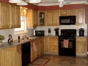 Kitchen Colors with Oak Cabinets Black Appliances