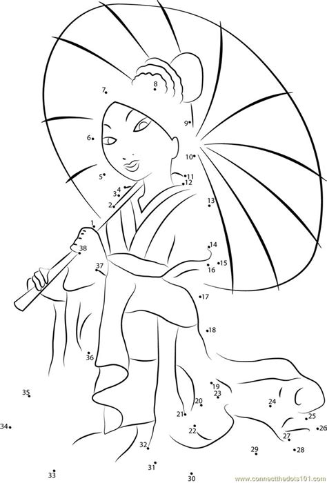 mulan with umbrella connect dots printable coloring pages
