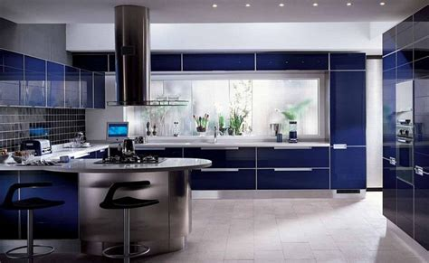 awesome modern kitchens awesome modern kitchen design featuring a glossy blue cabin finish with stainless steel