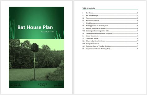 bat house plan template word templates