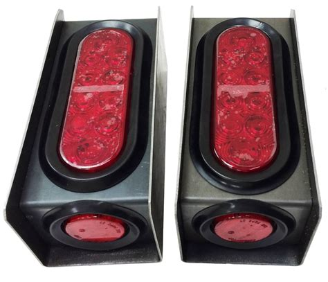 clear led trailer tail lights 2 steel trailer light boxes w led red 6 quot oval tail light