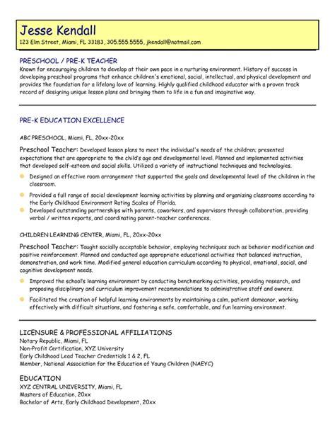 preschool resume objective preschool
