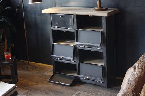 bureau meuble informatique meuble 8 clapets métal style industriel sur mesure