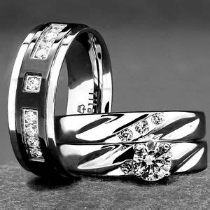 his and hers wedding rings 3 pc engagement cz 925 sterling silver titanium ebay