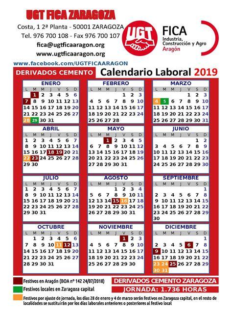 ugt fica aragon calendarios laborales construccion