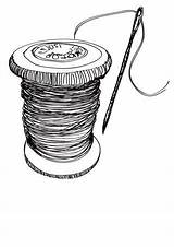 Needle Thread Drawing Spool Drawings Sewing Sketch Coloring Bobbin Clipart Printable Clip Yarn Sketches Graphic Crafts Spools Retro Technology Doodle sketch template