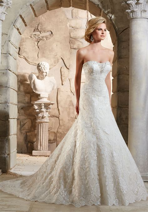 embroidered appliques  crystals wedding dress style