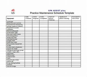 equipment maintenance schedule template excel schedule With equipment replacement plan template