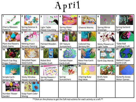 30 preschool crafts amp activities for april where 159 | april kids activity calendar lesson plan