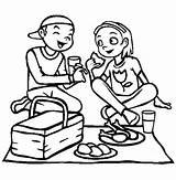 Eating Coloring Picnic Lunch Girlfriend Sheet Drawing Netart Sketch Colouring Drawings Sheets Template Kaban sketch template
