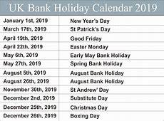 Free UK United Kingdom Bank Holidays 2019 Calendar