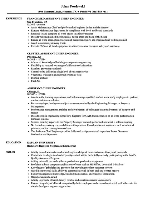 chief engineer sle resume template box free templates
