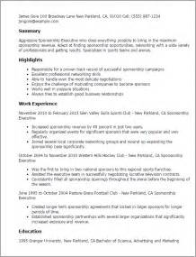 Field Hockey Resume Exle by Professional Sponsorship Executive Templates To Showcase Your Talent Myperfectresume