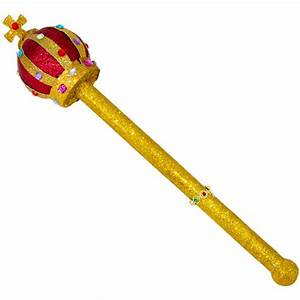 Red & Gold Glitter Jeweled Scepter [] - MardiGrasOutlet com