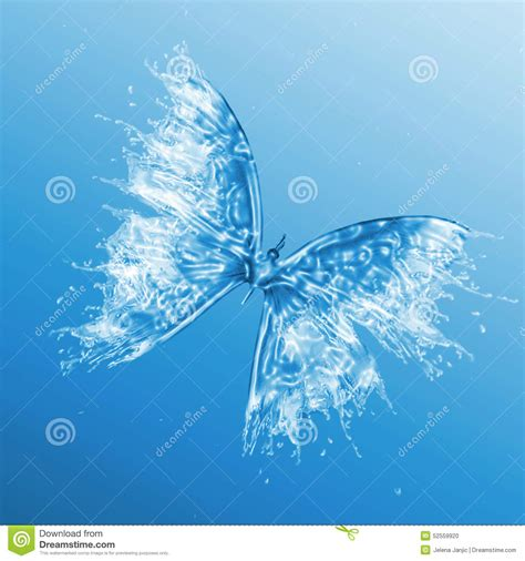 water butterfly on blue background stock illustration