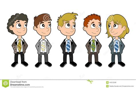 Business Boys Cartoon Set Stock Illustration Image Of