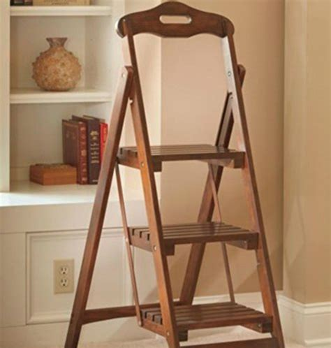 wooden folding ladder stool  step walnut finish